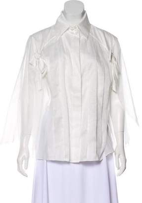 Chanel Pleated Bow Blouse