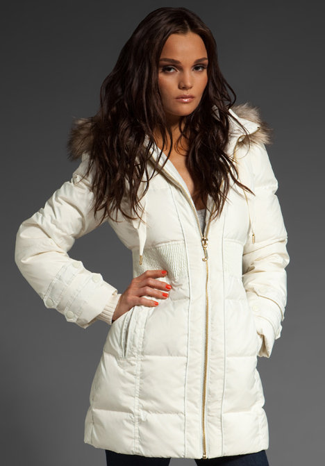 Juicy Couture Classic Puffer Coat with Removable Faux Fur Hood