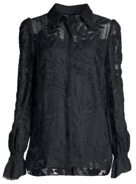 Elie Tahari Jayda Embroidered Sheer Blouse