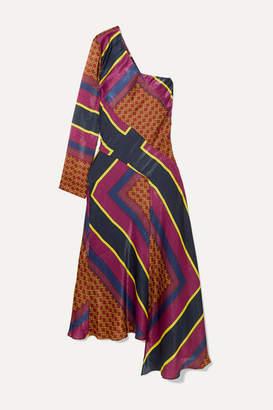 House of Holland One-shoulder Asymmetric Paneled Printed Satin Dress - Plum