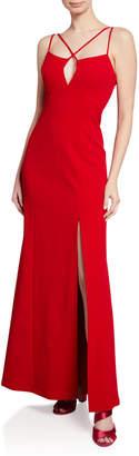 BCBGMAXAZRIA Keyhole-Front Side-Slit A-Line Gown