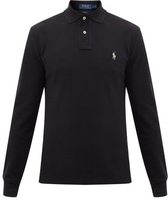 Polo Ralph Lauren Logo Embroidered Cotton Polo Shirt - Mens - Black