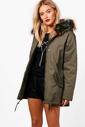 boohoo Alena Parka With Multi Faux Fur Hood