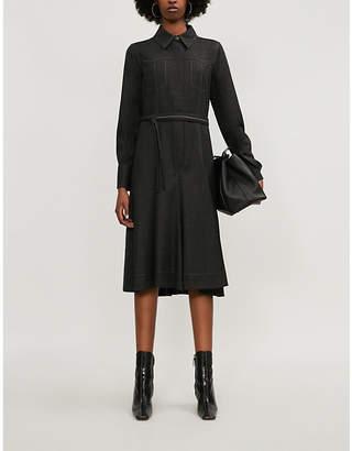 Brunello Cucinelli Fit-and-flare collared stretch-wool midi dress
