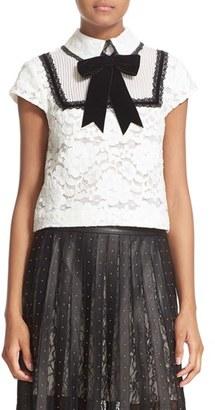 Alice + Olivia 'Vanetta' Pintuck Bib Lace Shirt with Velvet Bowtie $395 thestylecure.com