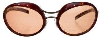 Bottega VenetaBottega Veneta Tortoiseshell Round Sunglasses