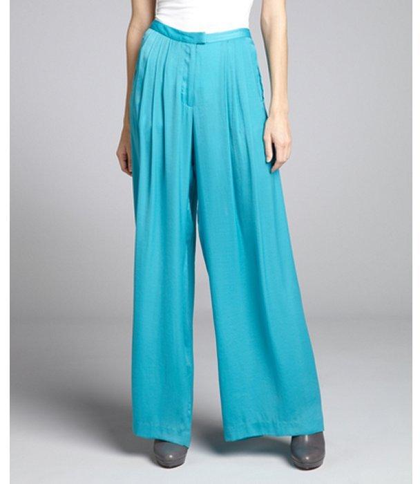 Rag and Bone Rag & Bone aqua charmeuse woven 'Racine' pleated trouser pants