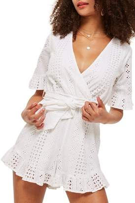 Topshop Broderie Anglaise Wrap Front Romper