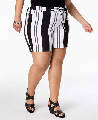 INC International Concepts I.n.c. Plus Size Striped Tie-Waist Shorts, Created for Macy's
