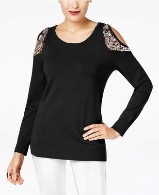 Thalia Sodi Embellished Cold-Shoulder Sweater