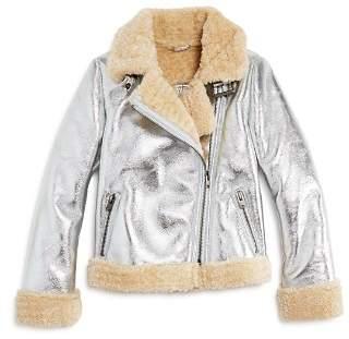 Bardot Junior Girls' Iris Metallic Sherpa Faux-Leather Moto Jacket - Big Kid