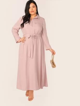 Shein Plus Button Half Placket Flap Pocket Self Belted Dress