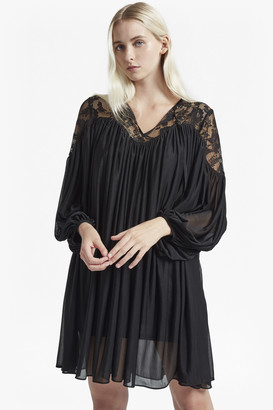 799823e25f3 French Connection Lassia Lace Jersey Tie Neck Dress