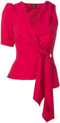 Elisabetta Franchi knot detail asymmetric blouse