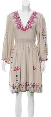 Ulla Johnson Embroidered Silk Knee-Length Dress