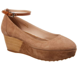 Tod's Suede Ankle-Strap Wedge Pump