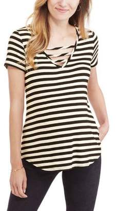 The Miss Group Maternity Short Sleeve Striped Strappy Vneck Tee
