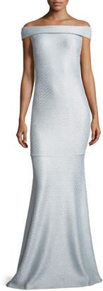 St. John Hansh Off-the-Shoulder Knit Gown