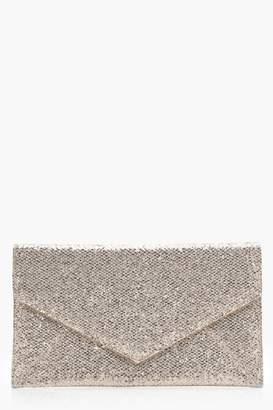 boohoo Glitter Envelope Panel Clutch