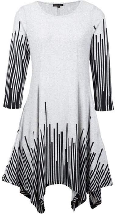 Womens *Izabel London Grey Geometric Hanky Hem Dress