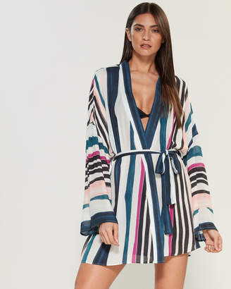 Red Carter Raina Bell Sleeve Striped Swim Cover-Up
