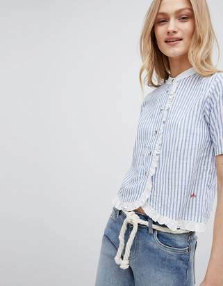 Leon and Harper Short Sleeved Shirt with Ruffle
