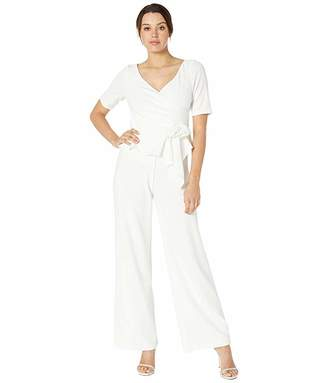 Adrianna Papell Crepe Jumpsuit with Draped Flower Applique