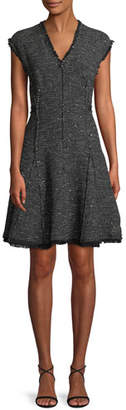 Rebecca Taylor Sleeveless V-Neck Sparkle Tweed Fit-and-Flare Dress