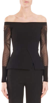Roland Mouret Off-the-Shoulder Peplum Knit Top with Lace Sleeves