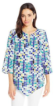Chaus Women's 3/4 SLV Dotted Lights Zip Front Blouse