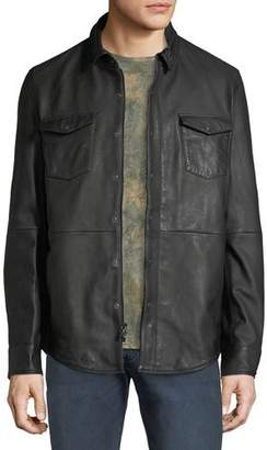John Varvatos Men's Oiled Leather Western Shirt Jacket