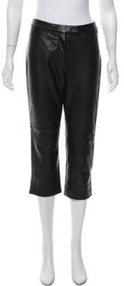 Andrew Marc Leather Mid-Rise Pants