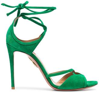 Aquazzura Green Nathalie 105 suede sandals