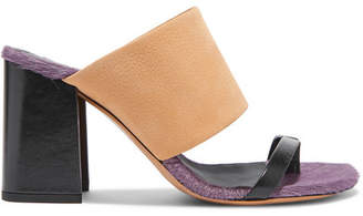 Dries Van Noten Leather And Calf Hair Mules - Sand