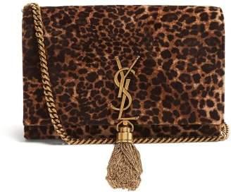 Saint Laurent - Kate Small Leopard Print Velvet Cross Body Bag - Womens - Leopard