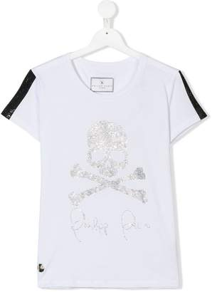 Philipp Plein Junior TEEN skull and crossbones studded T-shirt