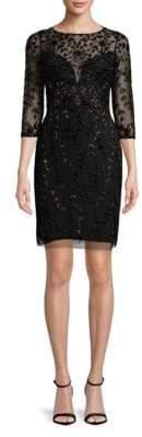 Aidan Mattox Embellished Sheer Sheath Dress