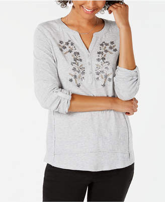 Style&Co. Style & Co Cotton Flower-Embellished Top, Created for Macy's