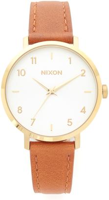 Nixon Arrow Leather Watch $150 thestylecure.com