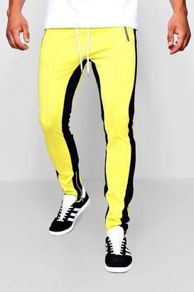 boohoo Skinny Fit MAN Tricot Colour Block Joggers