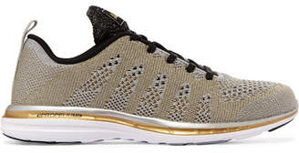 Athletic Propulsion Labs - Techloom Pro Metallic Mesh Sneakers - Gold $160 thestylecure.com