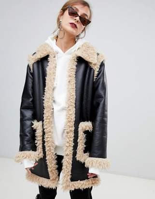 story. Of Lola PU Coat With Faux Shearling