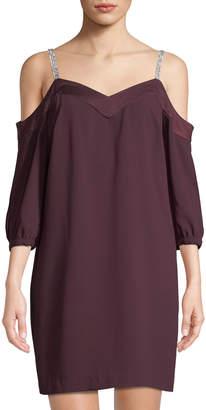 Trina Turk Sarika Cold-Shoulder Jeweled-Strap Mini Dress