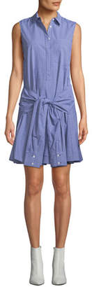 Derek Lam 10 Crosby Sleeveless Tie-Waist Check Shirtdress