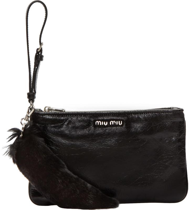 Miu MiuMiu Miu Black Leather & Fur Pouch