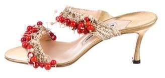 Manolo Blahnik Beaded Slide Sandals