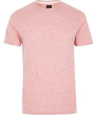 River Island Mens Light pink neppy fabric slim fit T-shirt