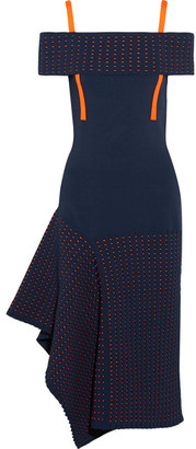 Jason Wu - Off-the-shoulder Asymmetric Stretch-knit And Jacquard-knit Dress - Midnight blue $1,395 thestylecure.com
