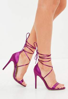 Missguided Purple Satin Lace Up Barley There Heeled Sandals