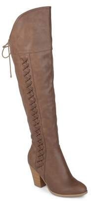 Co Brinley Women's Wide Calf Distressed Faux Leather Faux Lace-up Over-the-knee Boots